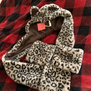 Leopard hoodie w ears w built in scarf and mittens